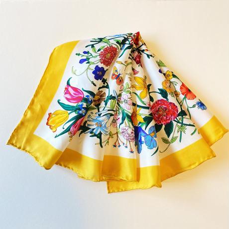 バルサンティ イタリア製 コモシルクスカーフ フィオーレ イエロー 小判 50x50