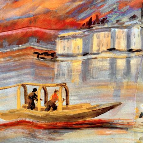 バルサンティ イタリア製コモシルクスカーフ コモ湖 85x85