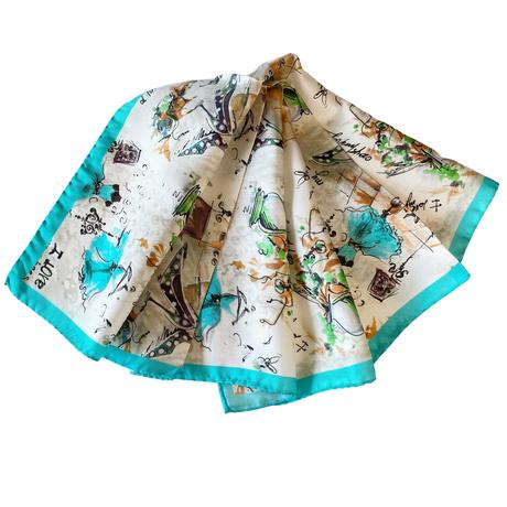 バルサンティ イタリア製  コモシルクスカーフ  バレリーナ ターコイズ 小判 50x50