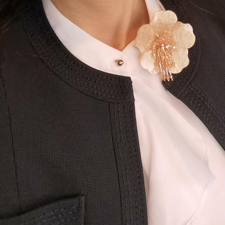バルサンティ イタリア製 スカーフネックレス(コサージュ)ライトオレンジ