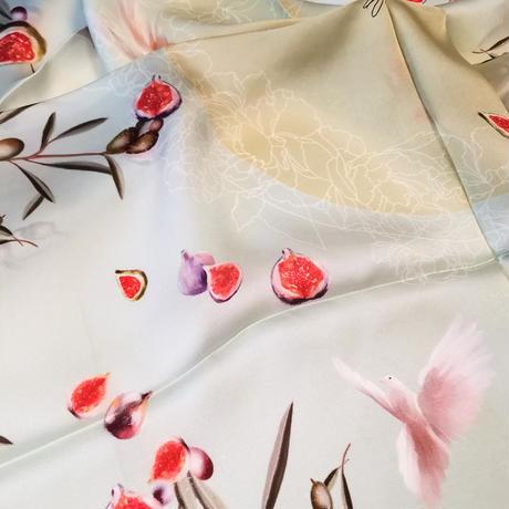 ダニエラコレクション イタリア製 コモシルクスカーフ オリーブミントグリーン