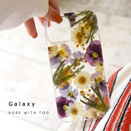 【リング不可】Galaxy /   押し花スマホケース  210428_4