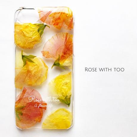 押し花iPhoneケース7/6/5/SE/Plus用 sweet pea(Orange)