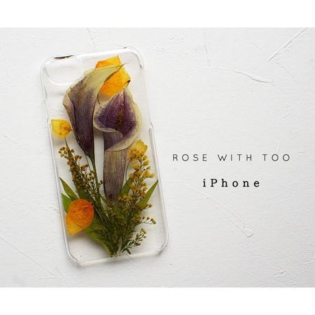 iPhone /  押し花ケース20190724_3ムラサキカラー