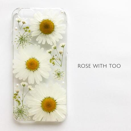 【再販】押し花iPhoneケース 0514_6 white mum