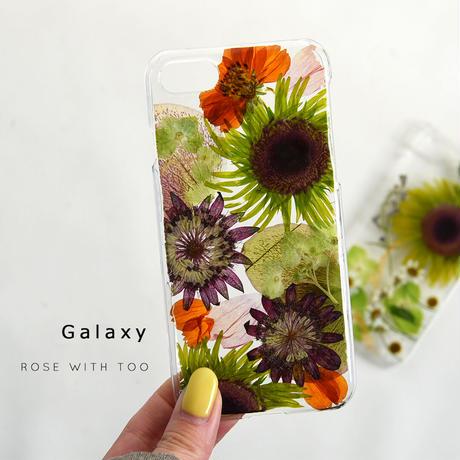 【リング不可】Galaxy /   押し花スマホケース  201125_3