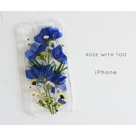 iPhone / 押し花ケース 1122_1 delphinium