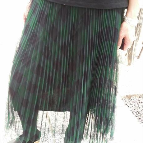 チェックチュールプリーツスカート
