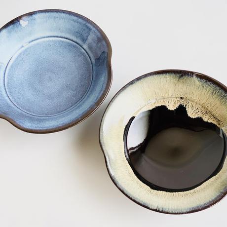 ブルー釉 三方なぶり7寸皿