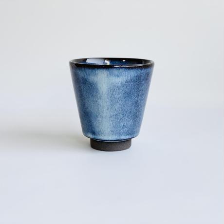 ブルー釉 反りコップ