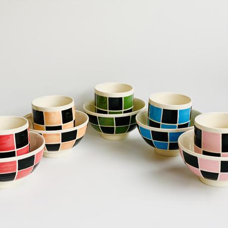 黒市松 ミニ茶付 ピンク