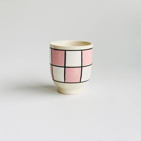 格子市松 ミニ茶付 ピンク