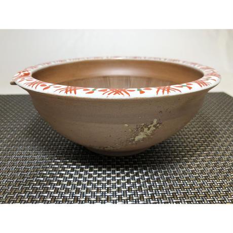 焼〆渕地紋 片口すり鉢中 赤