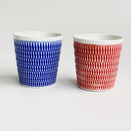 陶切子 ロックカップ レッド