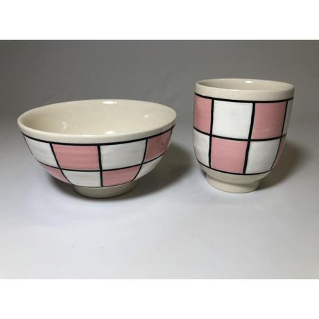 格子市松 ミニコップ ピンク