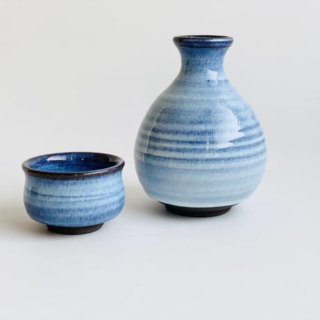ブルー釉 手造り丸ぐい呑み