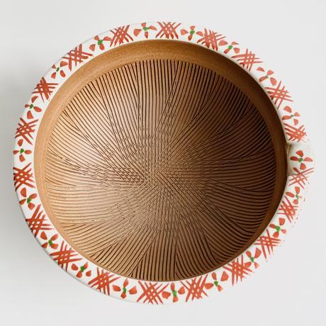 焼〆渕地紋 赤 片口すり鉢中