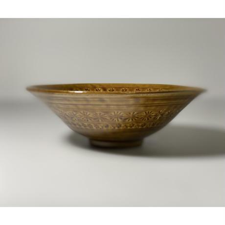 うす飴釉  三島平鉢