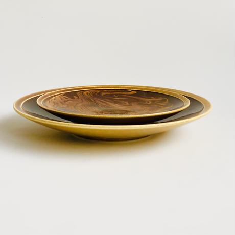 マーブル ブラウン  7寸皿