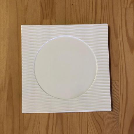 切子 丸抜き正角取皿 ホワイト
