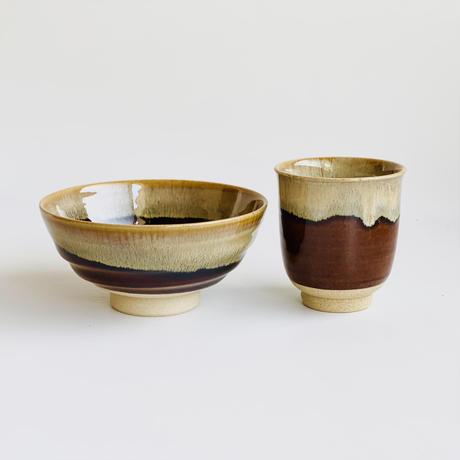 アメ釉流し 丸平茶付