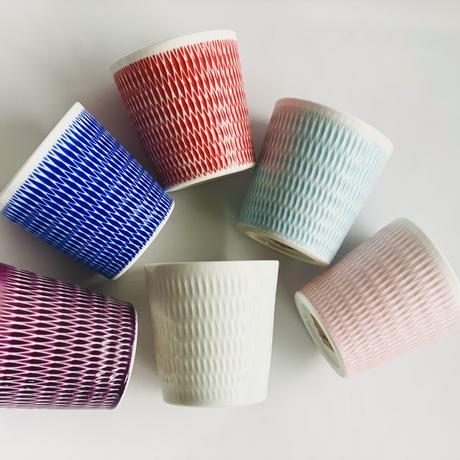陶切子 ロックカップ ピンク
