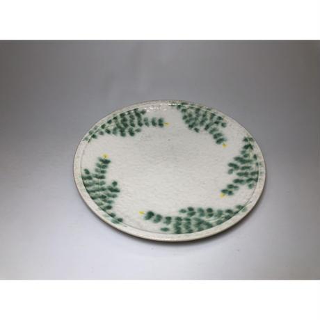 緑葉 5寸皿 黄