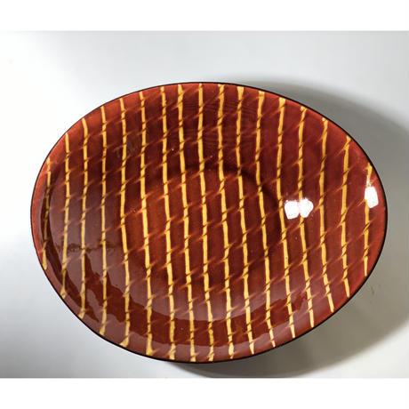 【手造り】スリップウェア  楕円鉢  レッド