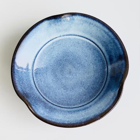 ブルー釉 3方なぶり 5寸皿