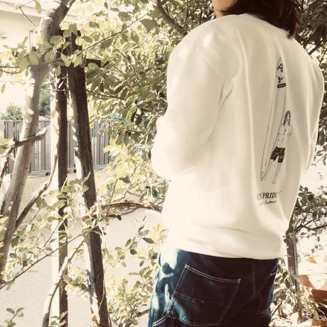 "Vol.5 期間限定 スウェット (裏起毛) 薄手 SURFAHOLIC ""GUN PRIDE""  Color : White"