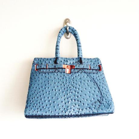 【雑誌「GLITTER」掲載】 BIRKIN-ISH PRINT BAG: ostrich-blue green M-size