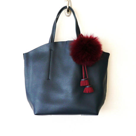 FAUX LEATHER TOTE-Navy
