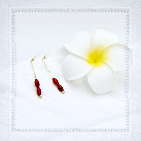 14K Gold Filledピアス 赤珊瑚ライス  bs01-07