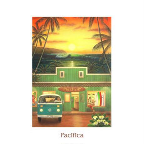 ヒロクメアート 四つ切マット付 サーフボードのある風景が描かれたハワイアンアート『Pacifica』。HK014E