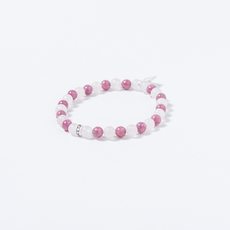 NATURAL STONE BEAD BRACELET (ROSE QUARTZ / RHODONITE)