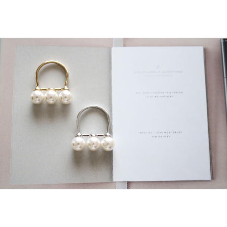 three pearls ring/gold・silver