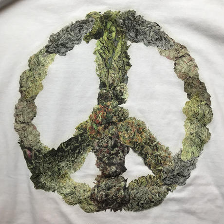 "RUGGED ""PEACE BUDS""  L/S tee (White)"