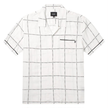 "【ラス1】HUF ""FUCK IT""  S/S WOVEN SHIRT (White)"