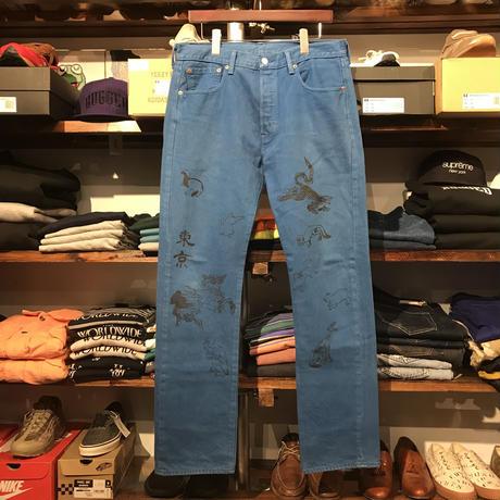 """RUGGED on vintage (Levi's) """"JAPAN ANIMAL"""" color denim pants (Blue)"""