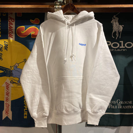 "【残り僅か】RUGGED ""rugged®︎"" reverse weave sweat hoodie (White/12.0oz)"