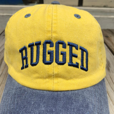 "【ラス1】 RUGGED ""ARCH LOGO""  adjuster cap (Yellow×Blue)"