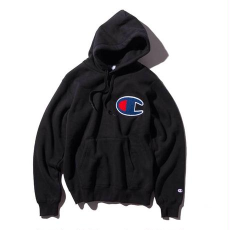 【残り僅か】Champion Big Logo Pull-Over Sweat Parka (Black)