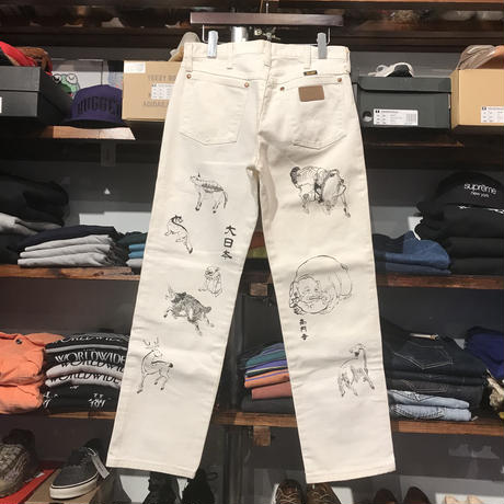 "RUGGED on vintage(Wrangler) ""JAPAN ANIMAL"" denim pants (White)"