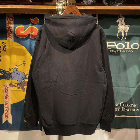 """【残り僅か】RUGGED """"ARCH LOGO"""" reverse weave  sweat hoodie (Black/12.0oz)"""