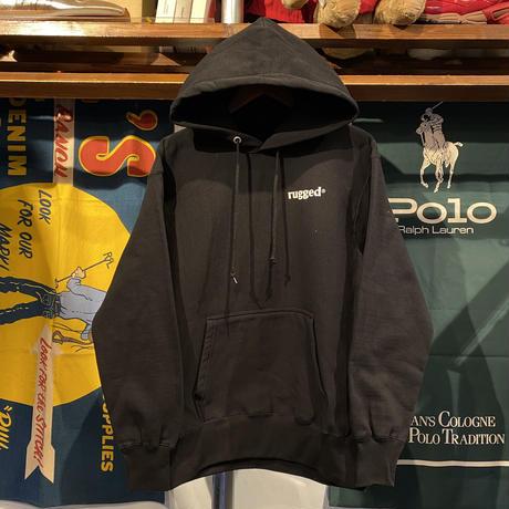 """【残り僅か】RUGGED """"GANJA & ROSES"""" reverse weave sweat hoodie (Black/12.0oz)"""