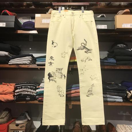 """【ラス1】RUGGED on Levi's 501 """"JAPAN ANIMAL"""" color denim pants (Cream Yellow)"""