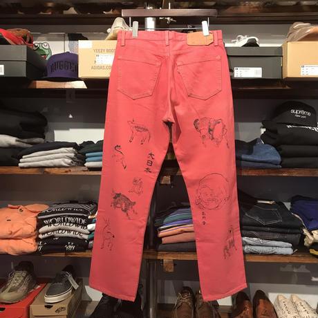 "RUGGED on vintage/Levi's 501 ""JAPAN ANIMAL"" color denim pants (PinkRed)"