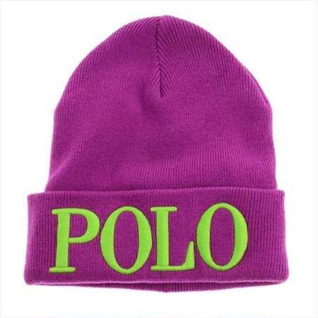 "【残り僅か】POLO RALPH LAUREN ""POLO"" knit cap (Purple)"