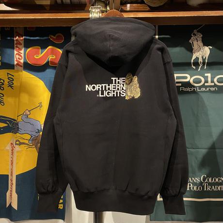"""【残り僅か】RUGGED """"THE NORTHERN LIGHTS"""" reverse weave sweat hoodie (Black/12.0oz)"""