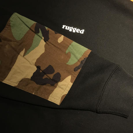 "RUGGED ""rugged®︎'' elbow patch military pocket sweat (Black/Multi)"